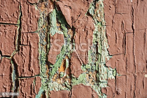 894368086 istock photo Texture Of Brown And Cyan Cracked Paint On Wooden Wall 876146848