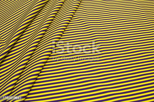 Texture of cotton fabric in yellow and purple stripes. Background, pattern.