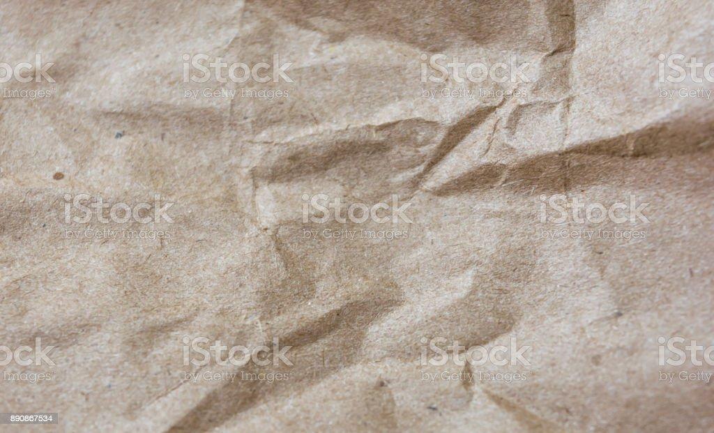 Texture of crumpled craft paper. Rectangular background. stock photo