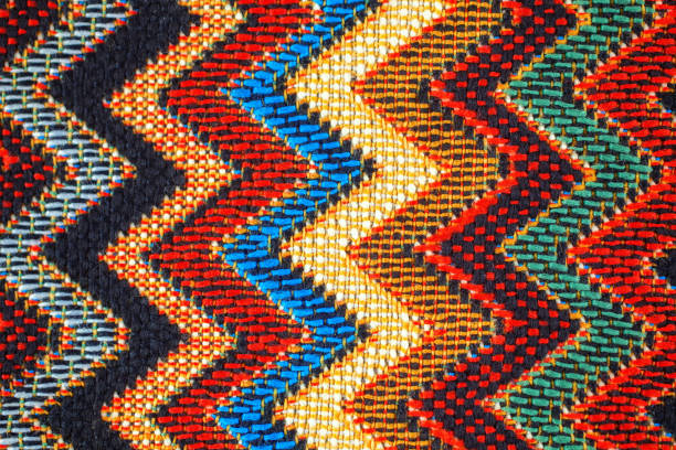 texture of  fabric with  traditional mexican pattern - african culture stock photos and pictures