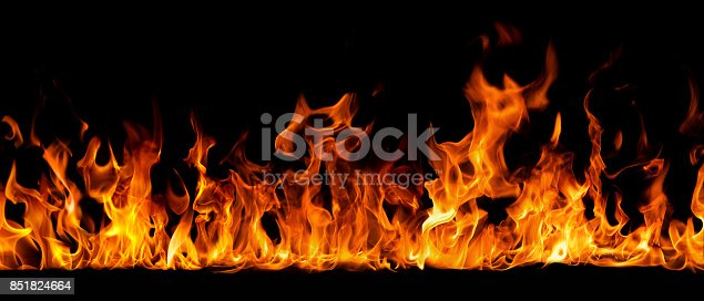 Texture of fire on a black background.