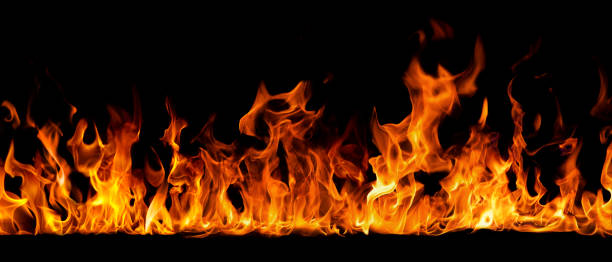 Texture of fire on a black background. stock photo