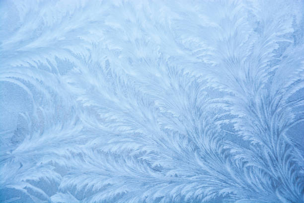 texture of frosty patterns. - ice crystal stock pictures, royalty-free photos & images