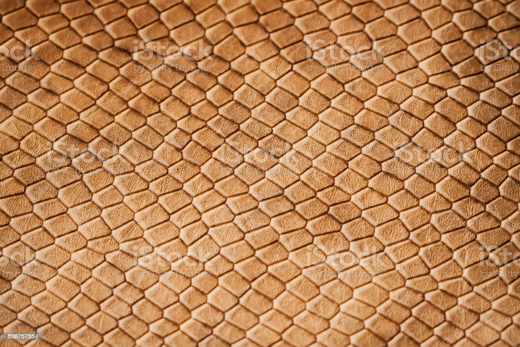 Texture of genuine leather close-up, with embossed scales  reptiles stock photo