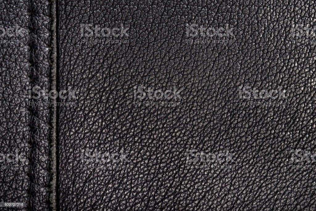 Texture of genuine leather of black color. stock photo