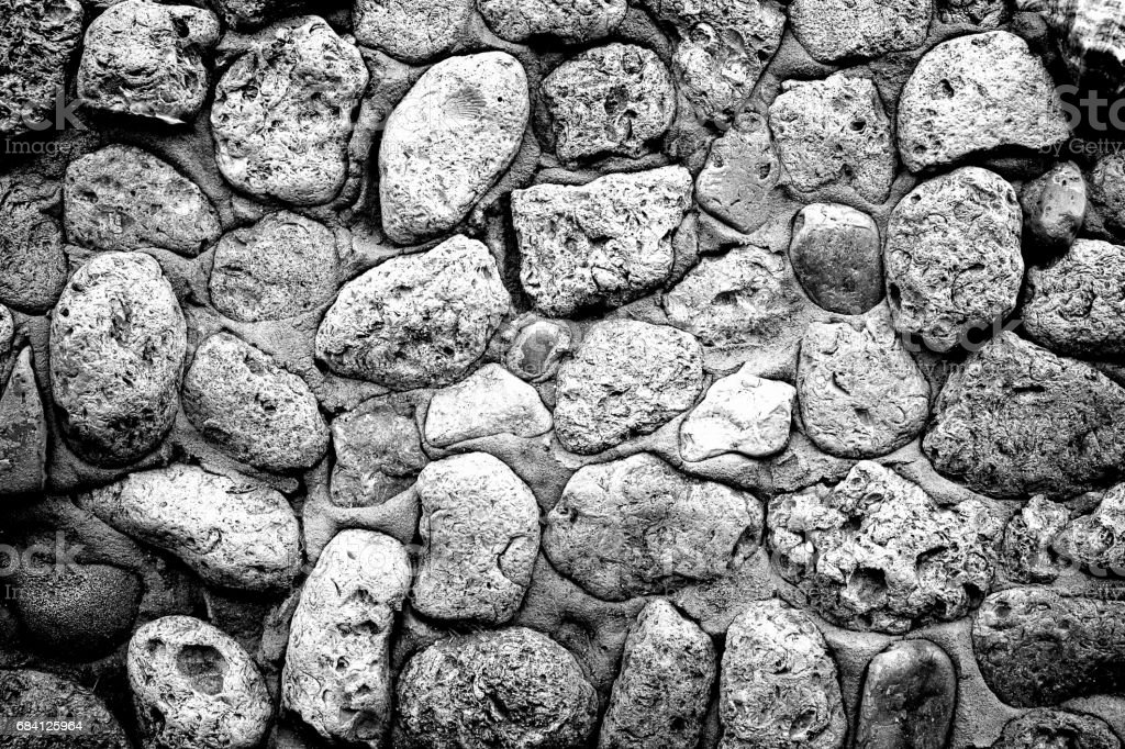 Texture of gray stone coquina wall in cement high contrasted with vignetting effect zbiór zdjęć royalty-free