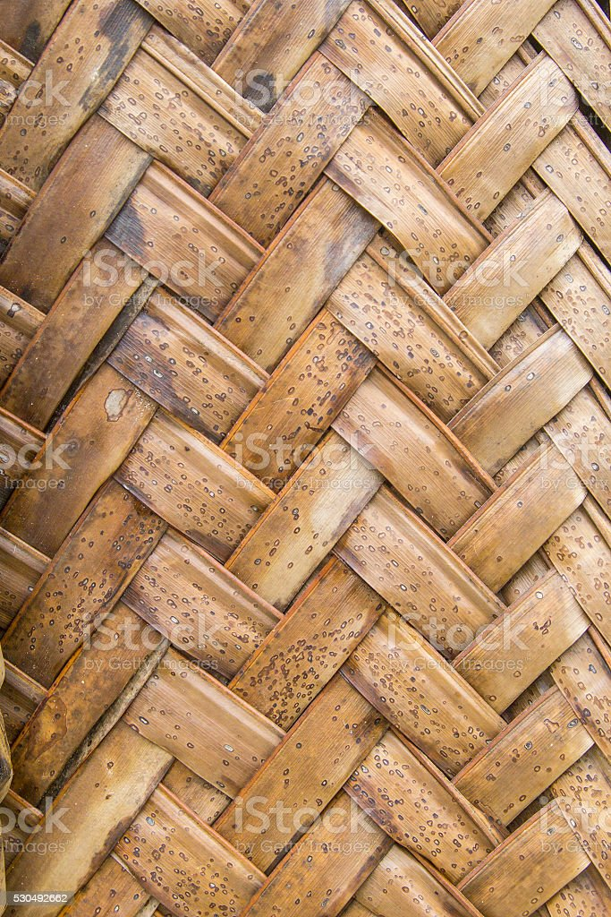 Texture of interweaving brown palm leaves stock photo