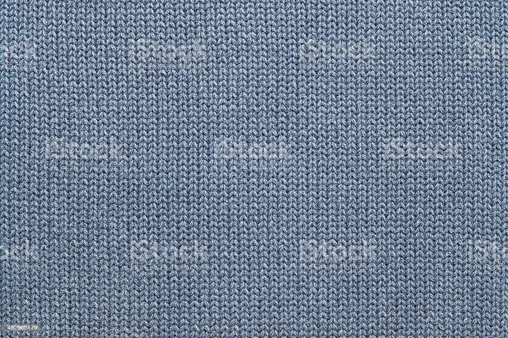 texture of knitted gray-blue woolen fabric stock photo