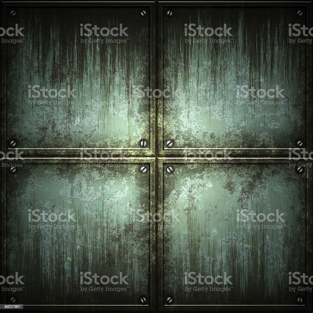 Texture of metal plate with 4 gray panels stock photo