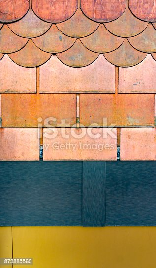 687475318 istock photo Texture of metal shingles close-up 873885560