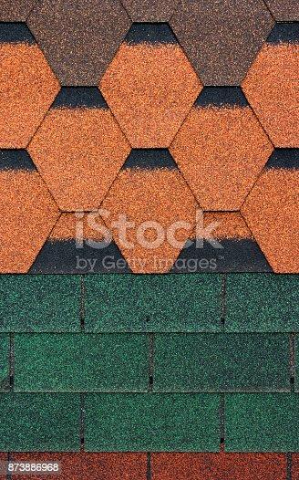 687475318 istock photo Texture of metal shingles close-up 873886968