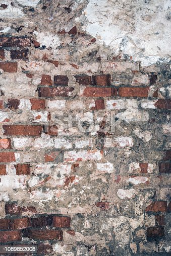 texture of old brick wall, destroyed antique brickwork, architecture abstract background