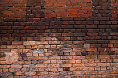 Texture of old brickwork with peeling color paint