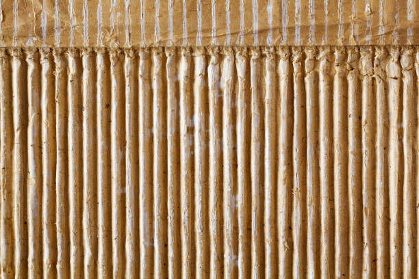 Texture of old corrugated cardboard. stock photo