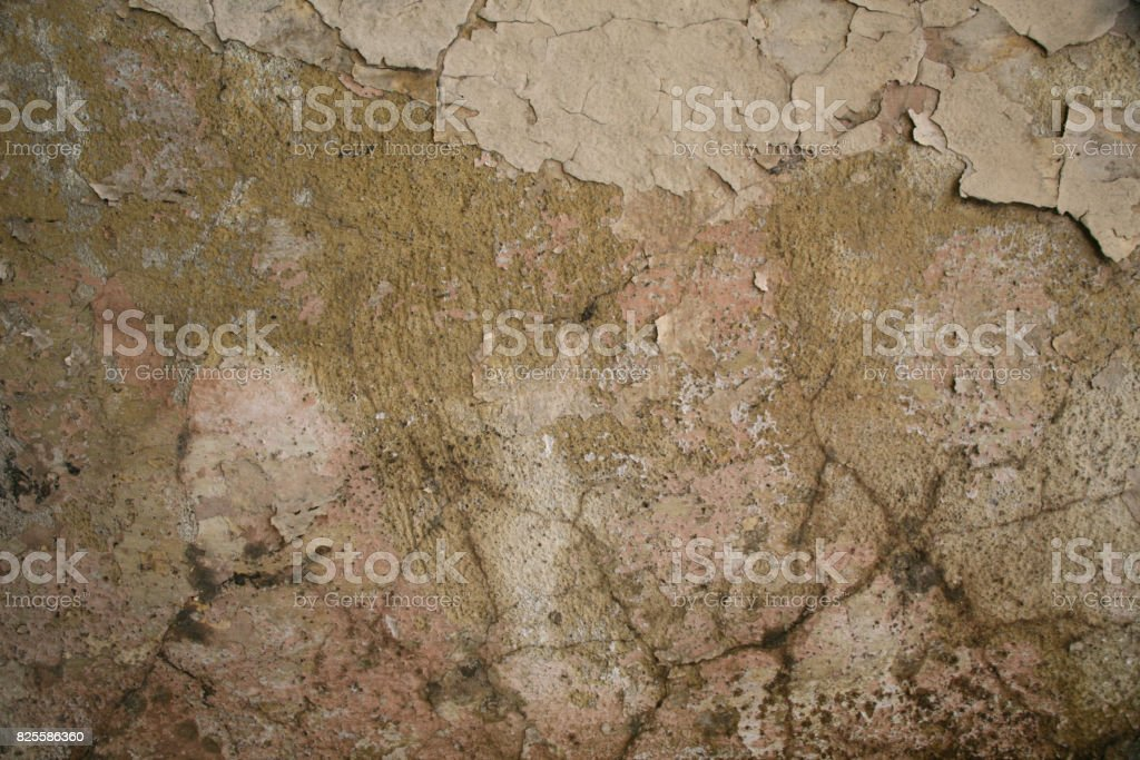 Texture of old cracked plaster painted wall royalty-free stock photo