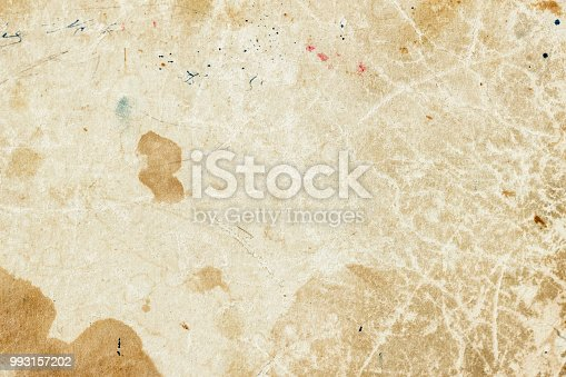 Texture of old moldy paper with dirt stains, spots, inclusions cellulose, brown cardboard texture background, grunge vintage backdrop