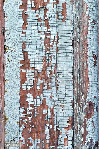 Texture of old painted in blue wood