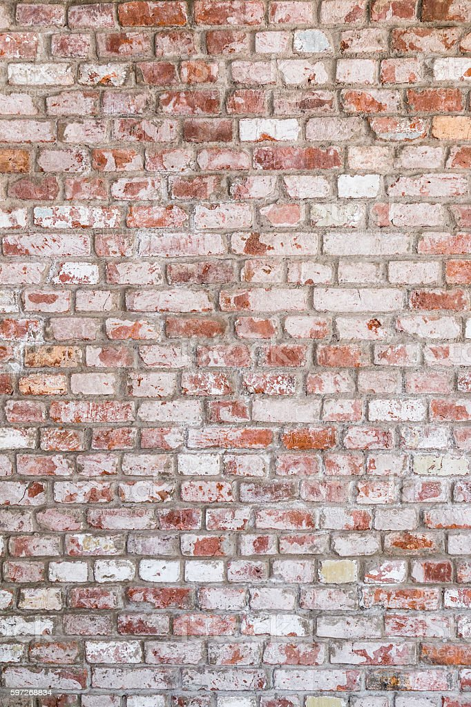 Texture Of Old Rustic Brick Wall Painted With White Stock