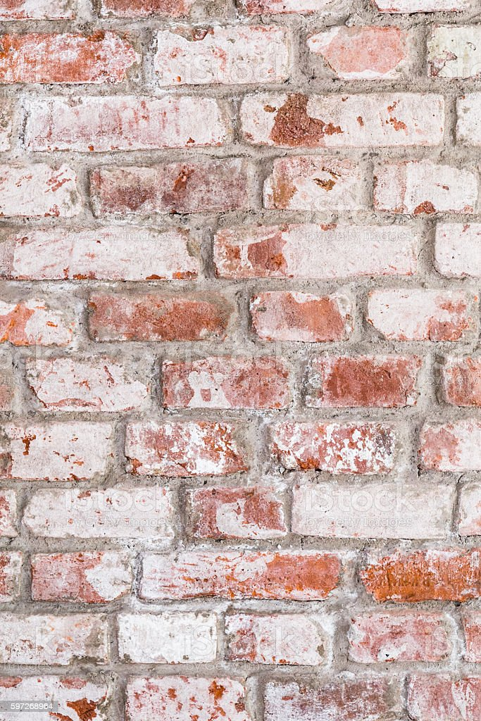 Texture of old rustic brick wall painted with white royalty-free stock photo