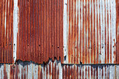 texture of old rusty corrugated metal background