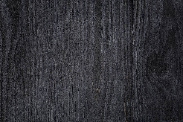 Texture Of Painted Pine Wood With Black Semiglossy Paint Stock Photo