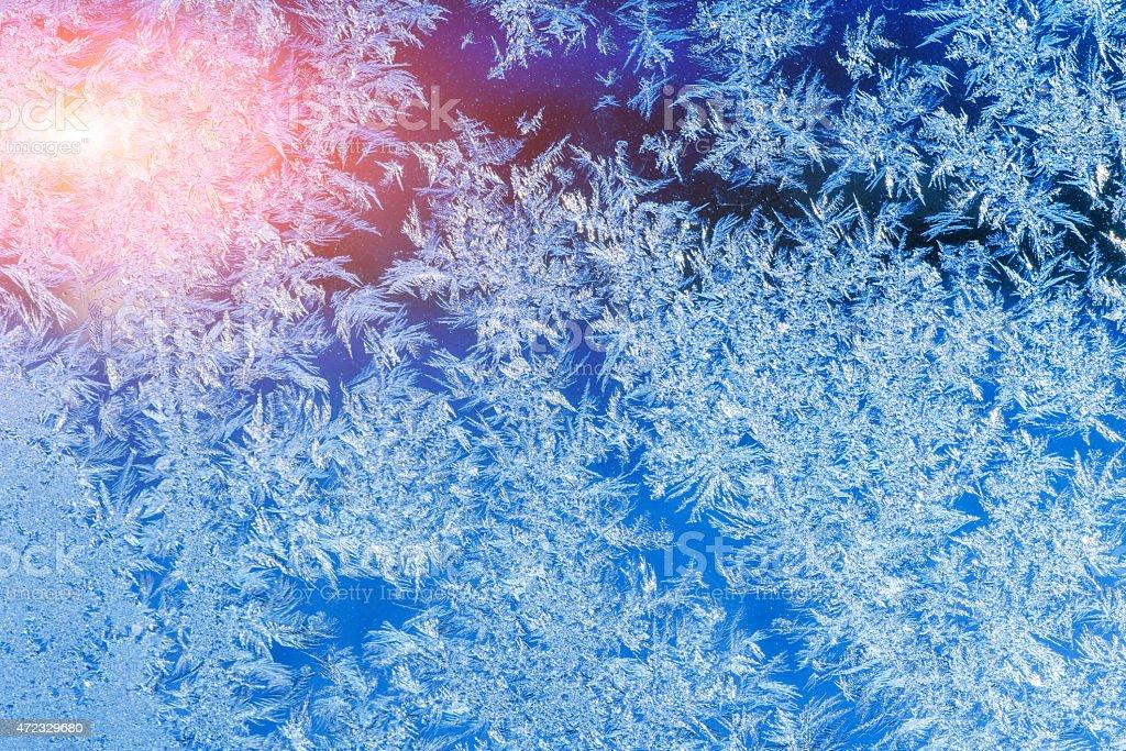 texture of patterns on frozen window glass stock photo