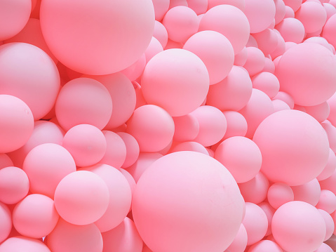 Texture of pink balloons as wall background.