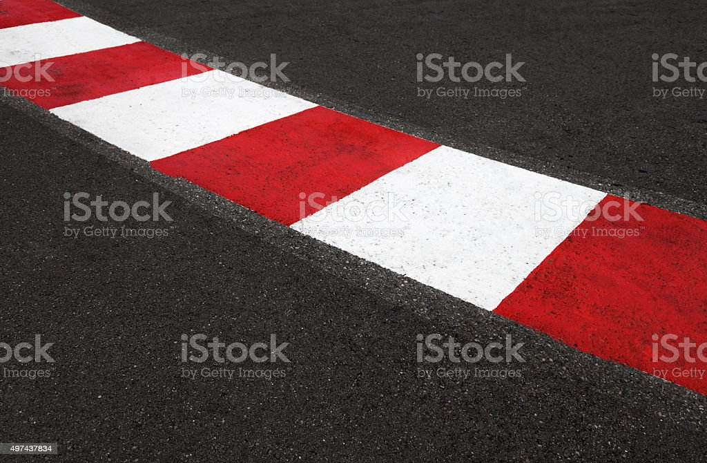 Texture of race asphalt and curb Grand Prix circuit stock photo