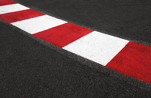 texture of race asphalt and curb grand prix circuit - formula 1 個照片及圖片檔