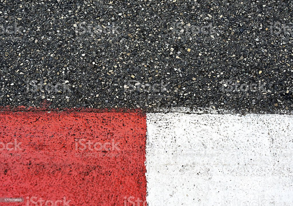 Texture of race asphalt and curb on Grand Prix circuit royalty-free stock photo