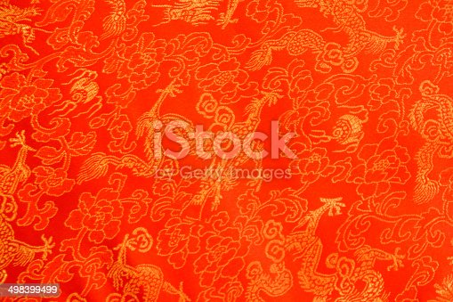 532522827 istock photo Texture of Red Chinese Silk with Dragons and Flowers Pattern 498399499