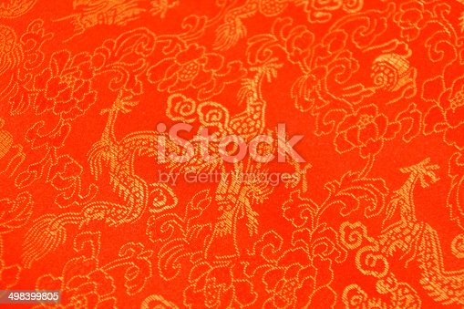 532522827 istock photo Texture of Red Chinese Silk with Dragons and Flowers Pattern 498399805