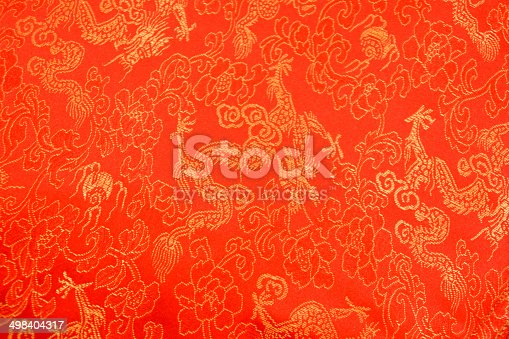 532522827 istock photo Texture of Red Chinese Silk with Dragons and Flowers Pattern 498404317