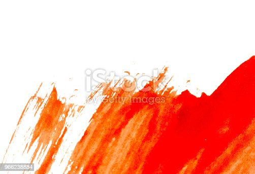 istock Texture of red watercolour paint on white paper. Horizontal watercolor background. 966238884
