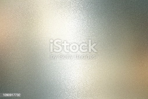 istock Texture of reflection on rough gray metallic wall, abstract background 1090917732
