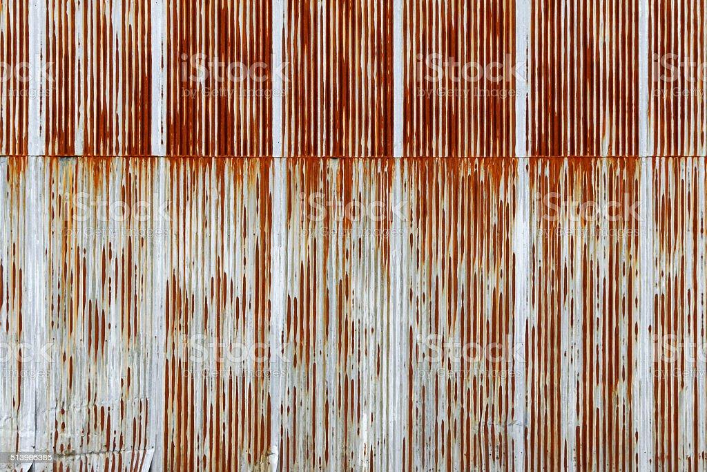 Texture of rusty Corrugated metal sheet, galvanized iron plate stock photo