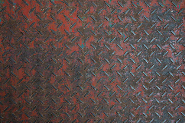texture of rusty diamond plate - diamond plate background stock photos and pictures
