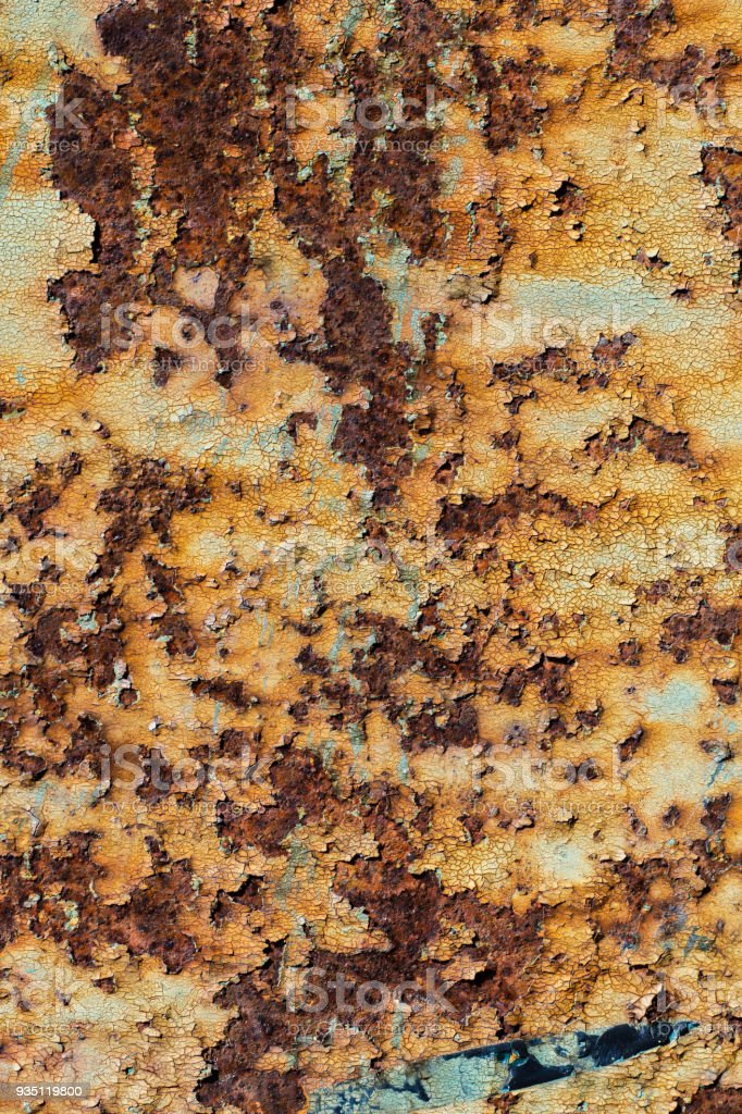 Texture Of Rusty Iron Cracked Paint On An Old Metallic Surface Sheet
