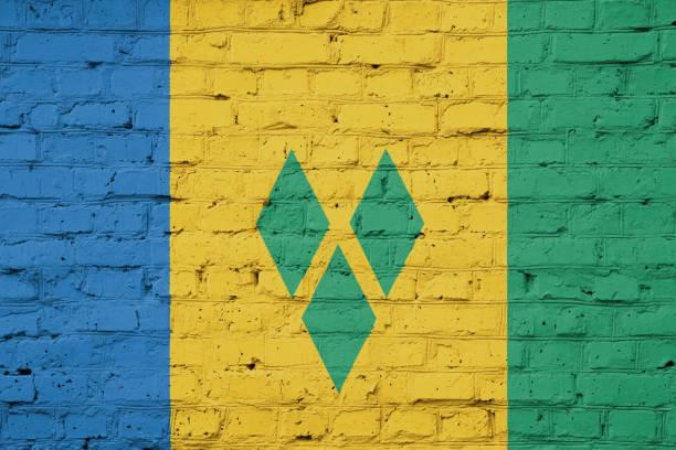 textur der flagge von st. vincent und die grenadinen - kingstown stock-fotos und bilder