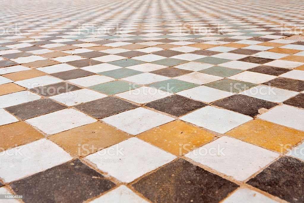 Texture of the floor in El Badi Palace. stock photo