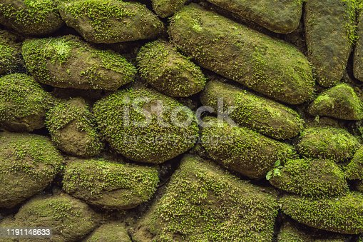 texture of the old stones and moss in the Bali style.
