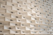 Texture of wall in conference room  with square pattern with beautiful lighting