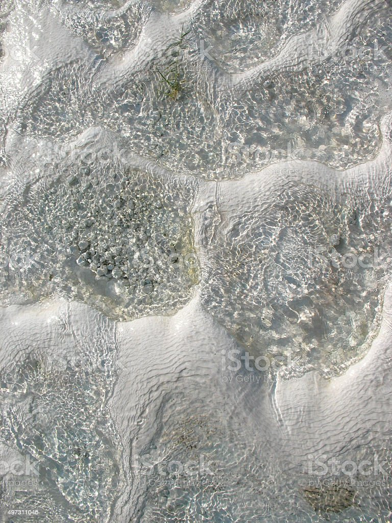 texture of water on the limestone - Pamukkale stock photo