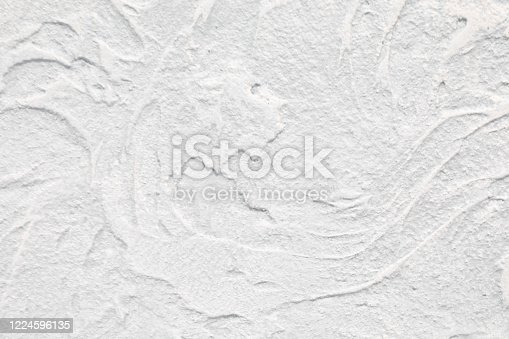 Texture of white concrete wall with glaze finish. Luxury background with imitation of sea wave. Copy space.