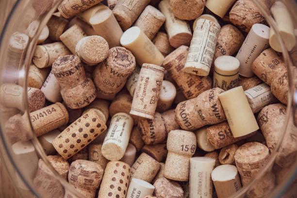 Texture of wine corks closeup. Wine bar backdrop stock photo