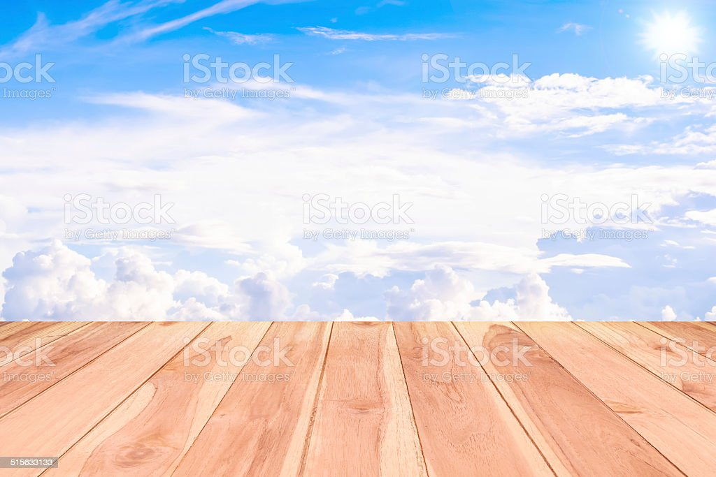 Texture of wood background closeup  textured on blue sky stock photo