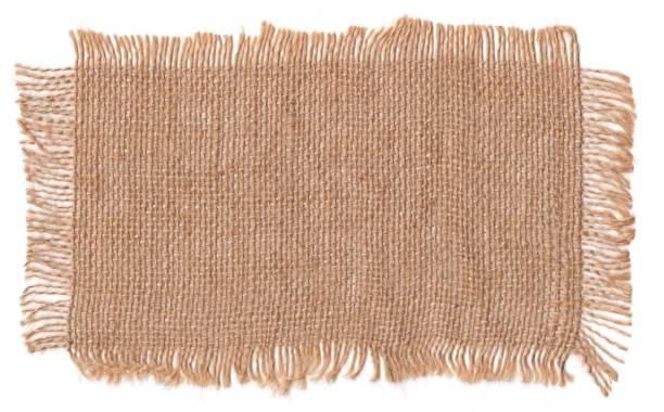 textur-sack-hintergrund mit ausgefransten rändern auf weißem hintergrund - patchworkstoffe stock-fotos und bilder