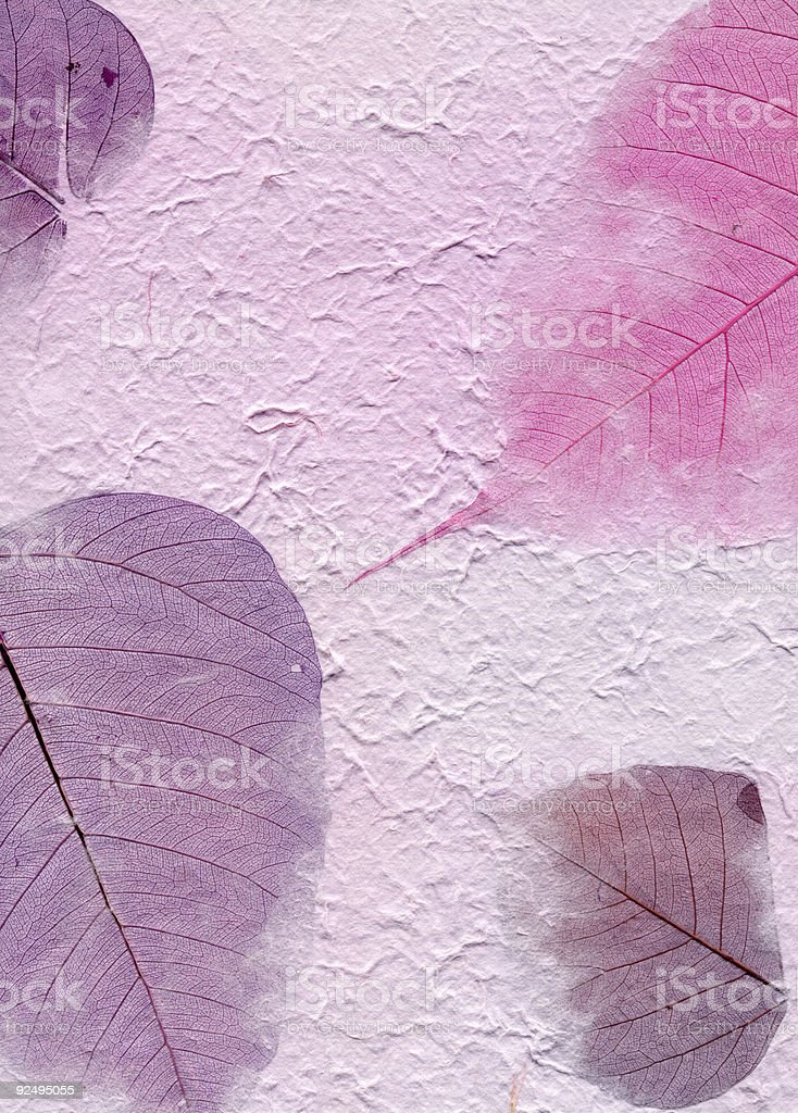 Texture Series - Purple Paper with Leaves royalty-free stock photo