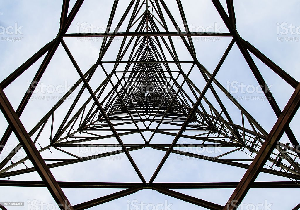 texture steel structures of Antenna repeater radio stock photo