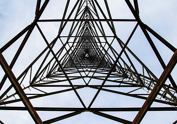texture steel structures of antenna repeater radio - transmission lines stock photos and pictures